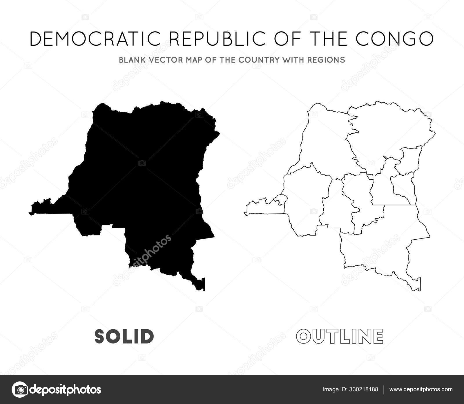 Dr Carte Du Congo Carte Vectorielle Vierge Du Pays Avec destiné Carte Des Régions Vierge