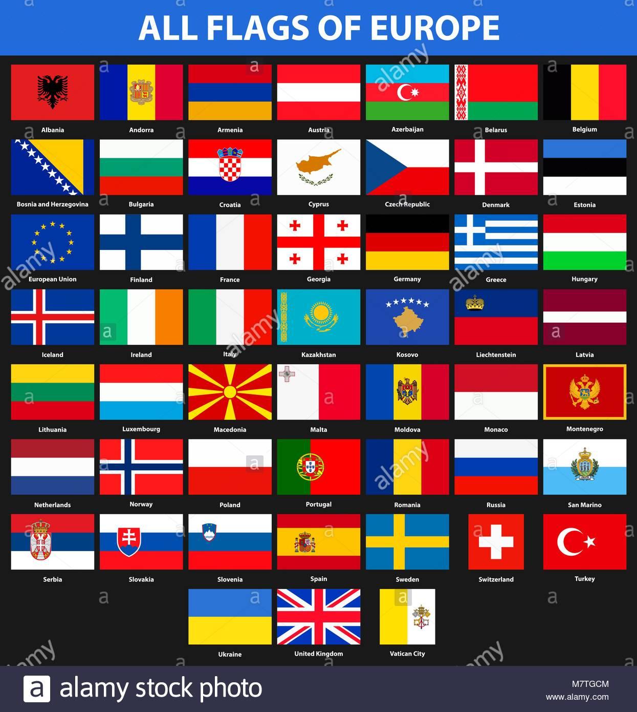 Drapeaux De Tous Les Pays De L'europe. Style Plat Vecteurs concernant Tout Les Pays D Europe