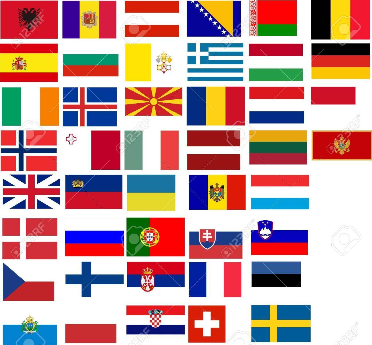 Drapeaux De Tous Les Pays Européens. Illustration Sur Fond Blanc destiné Tout Les Pays D Europe