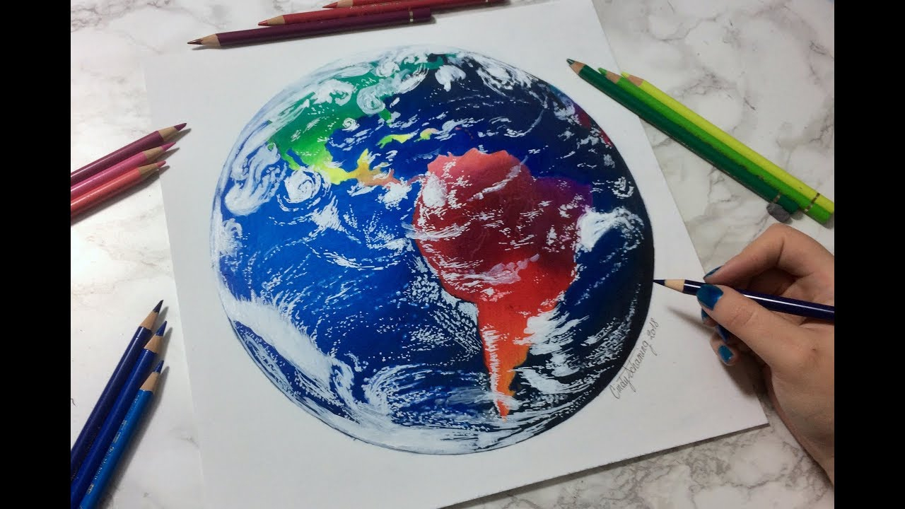 Drawing Colorful Earth - Dessin De La Planète Terre tout Image De La Terre Dessin