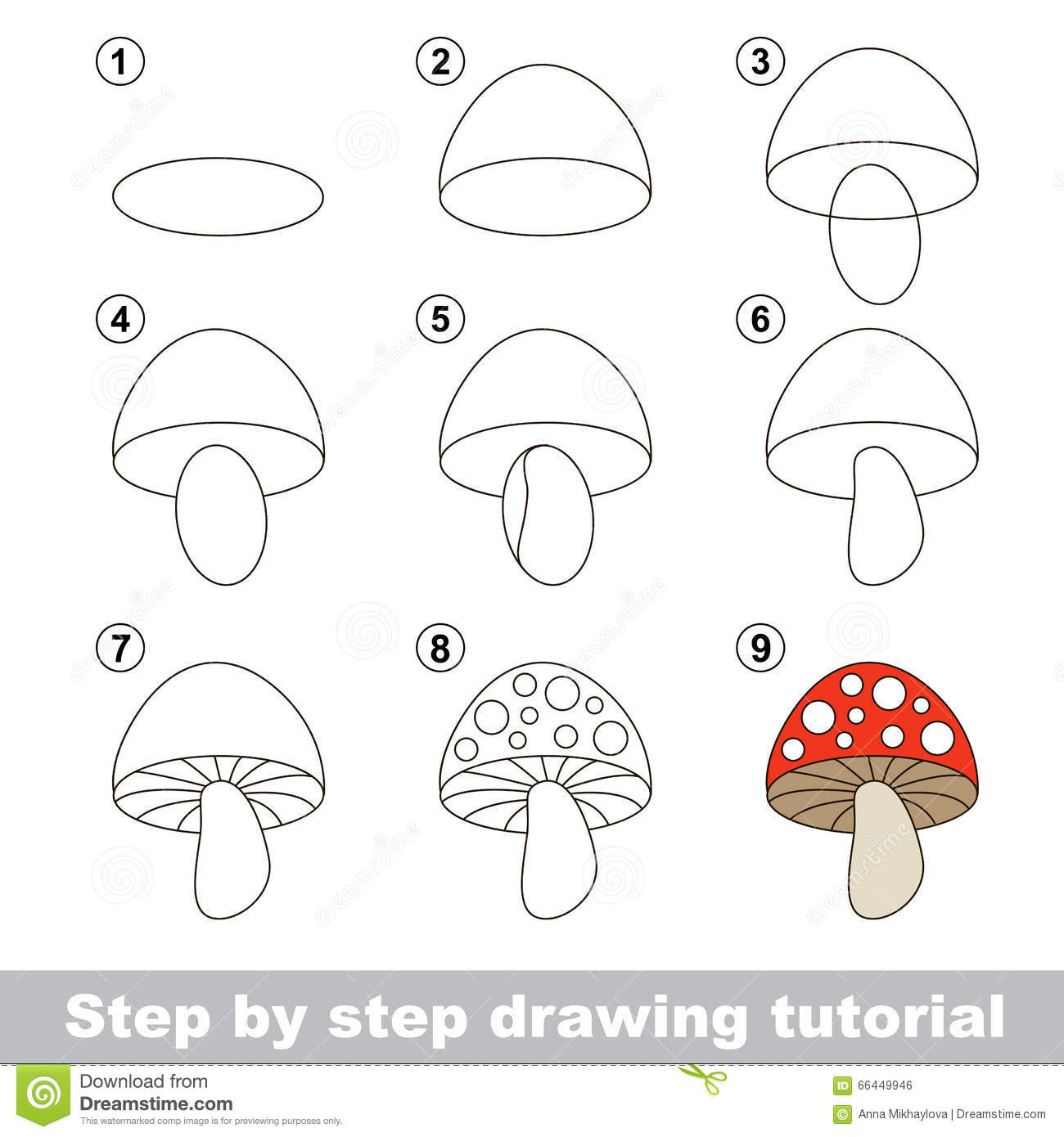 Drawing Tutorial. How To Draw A Stoadtool Stock Vector pour Dessiner Un Champignon