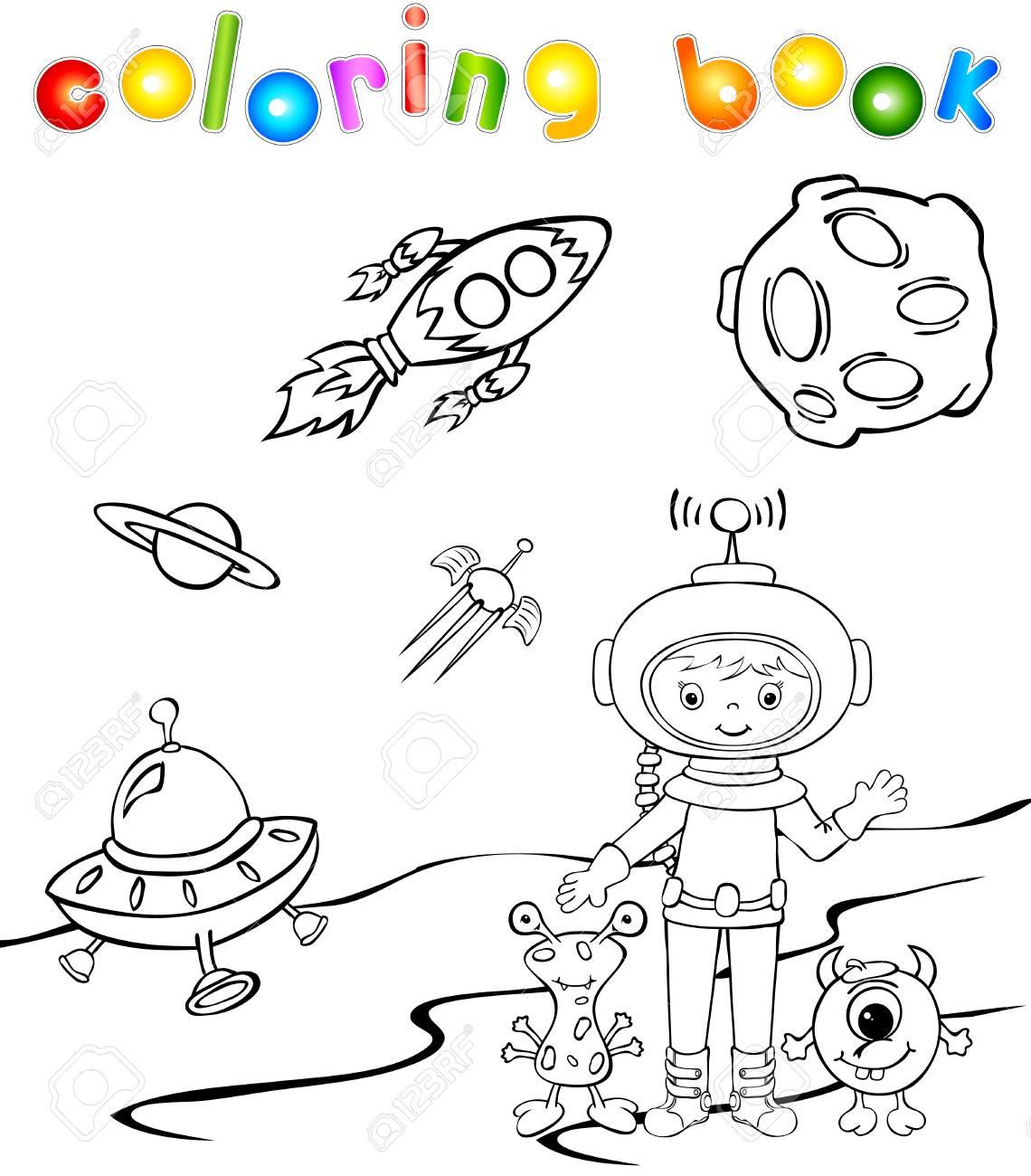 Drôle Astronaute Monstre Aith. Livre De Coloriage destiné Coloriage Astronaute