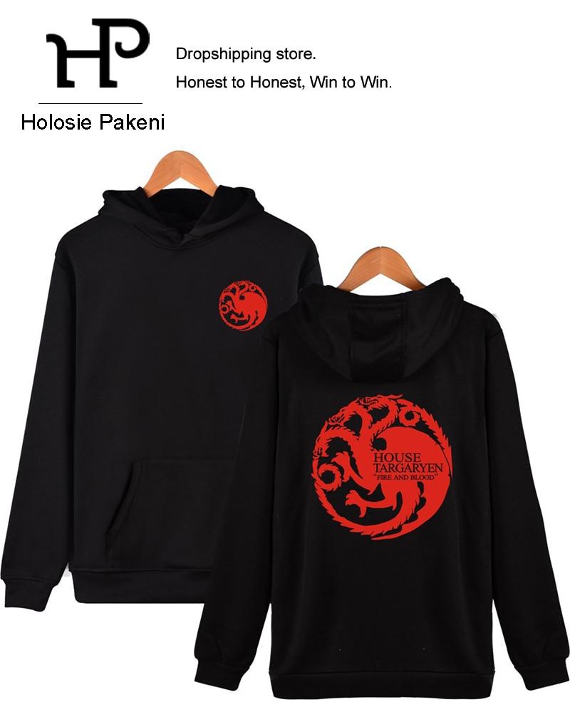 Dropshipping Oyun Thrones Hoodies Kazak Erkek Kadınlar Fire House Targaryen  Hoodie Streetwear Ceket Noel Hediye Cosplay pour Rebus Noel