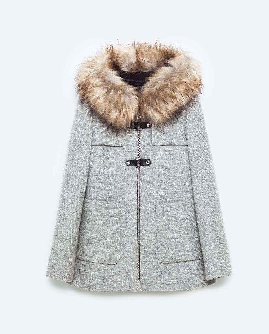 Duffle-Coat Zara Avec Col En Fausse Fourrure Amovible concernant Fausses Pieces Euros