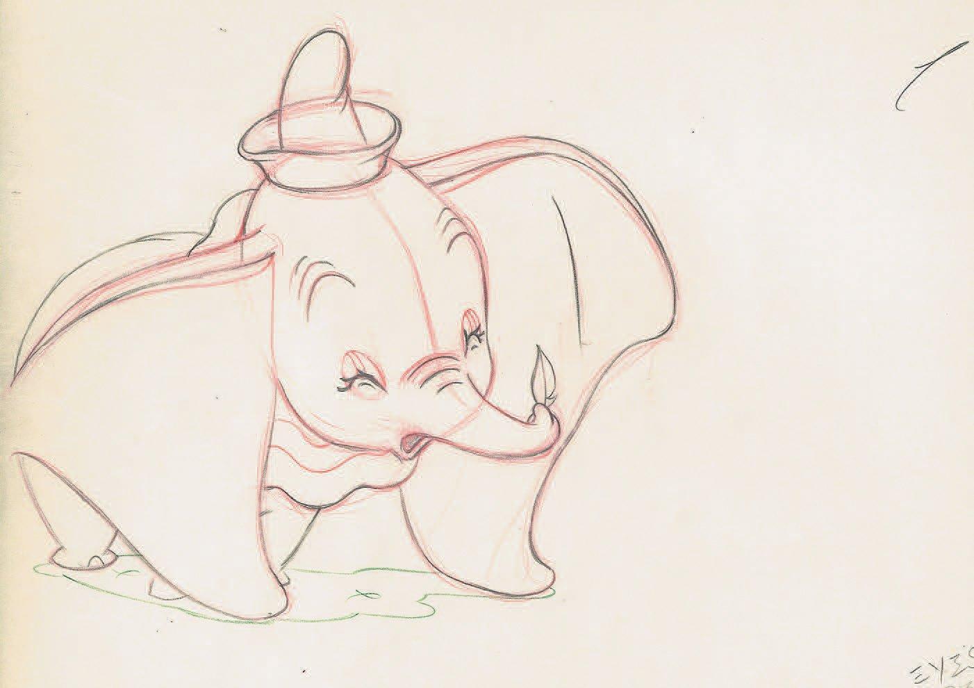 Dumbo Studios Disney, 1941. Dessin D'animation De Dumbo À La Mine De Plomb tout Dessin Dumbo