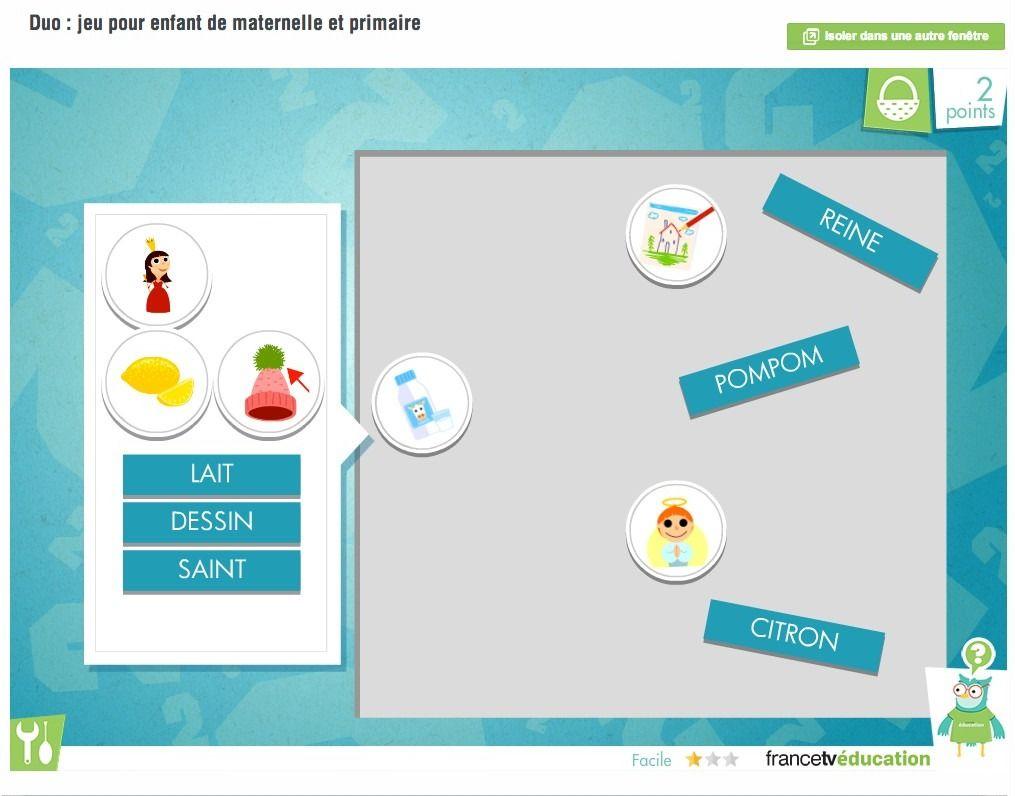 Duo : Jeu En Ligne - Faire Glisser Mots Et Images À Apparier concernant Jeux Maternelle En Ligne