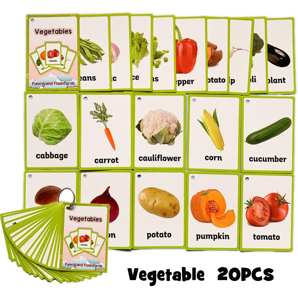 €1.59 15% De Réduction|20 Pièces/ensemble Fruits Légumes Anglais  Apprentissage Mot Carte Anglais Apprentissage Éducation Précoce Jeu Enfant  Mot Poche avec Jeu De Mot En Anglais