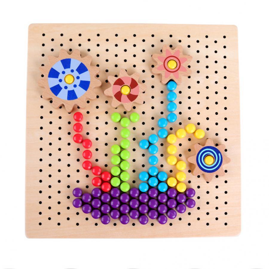 €15.32 31% De Réduction|Kit En Bois De Clou De Cheville De Champignon Pour  Des Enfants Mosaïque Puzzle Bouton Art Didactique Jeux Intelligents Jouets avec Jeux Intelligents Pour Enfants