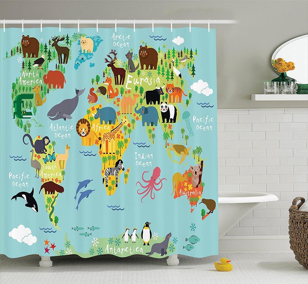 €16.92 |Mémoire Maison Animal Carte Du Monde Pour Enfants Enfants Dessin  Animé Forêts Polyester Tissu Salle De Bain Rideau De Douche Ensemble Avec dedans Carte Du Monde Pour Enfant