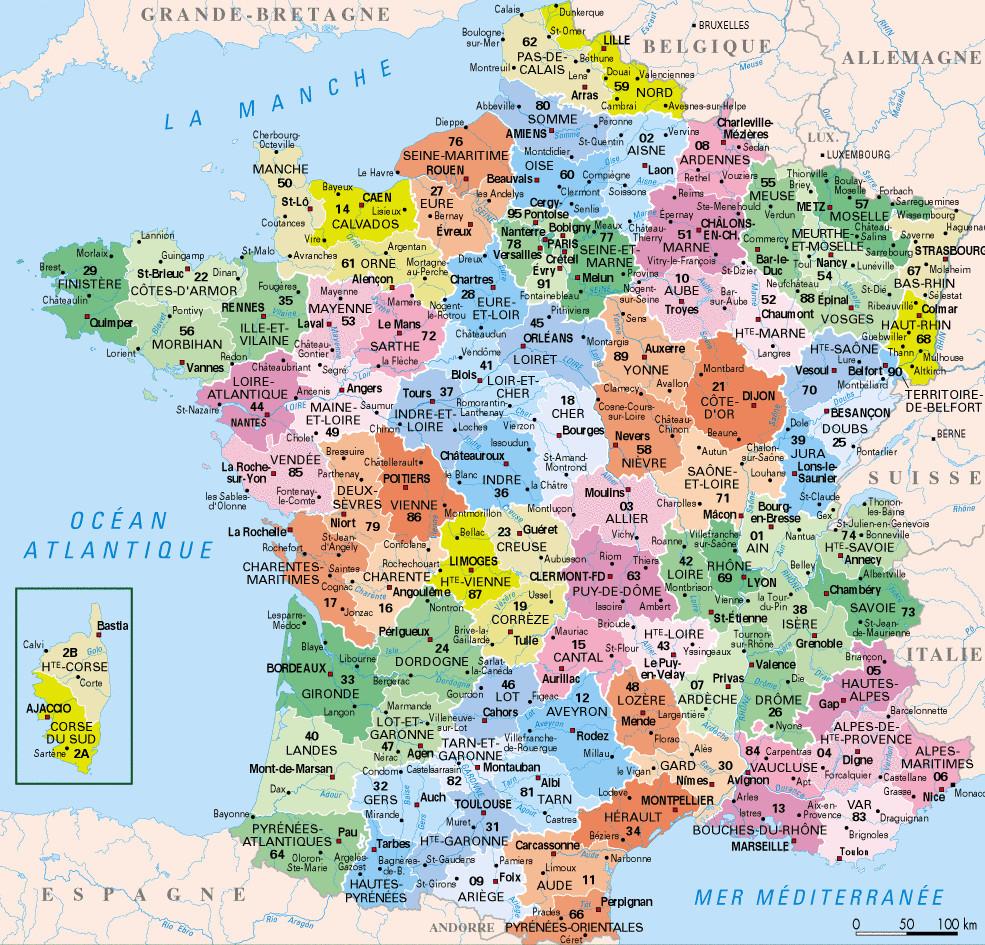 ⇒ Liste Des Départements Français : √ Rmations destiné Carte De France Avec Départements Et Préfectures