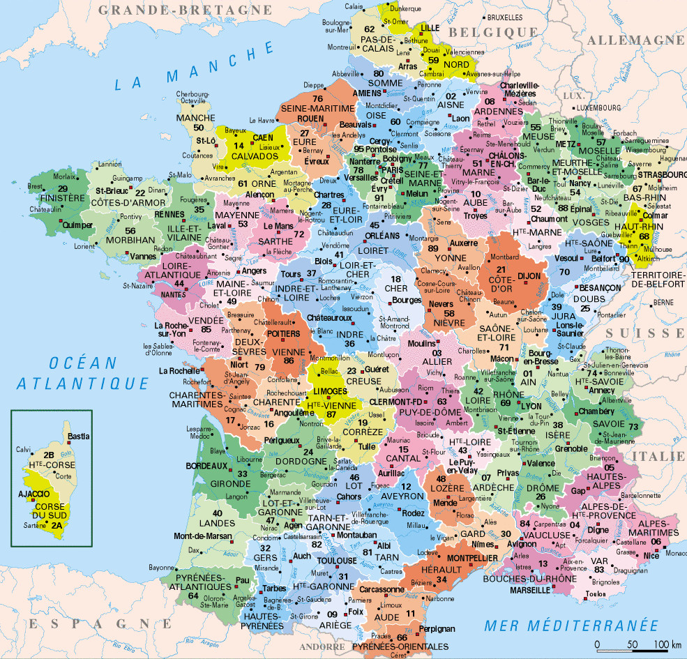 ⇒ Liste Des Départements Français : √ Rmations pour Carte Region Departement