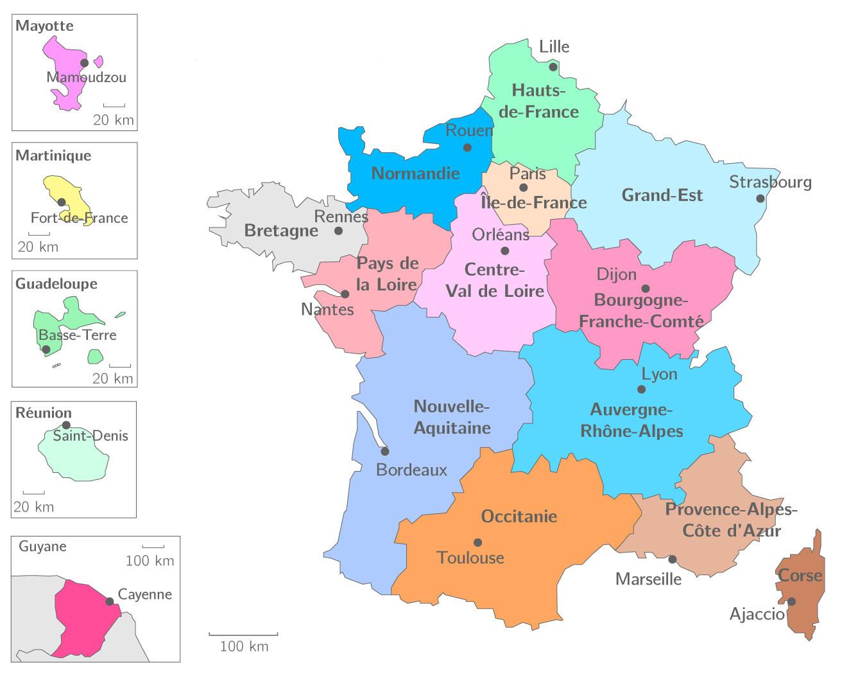 ⇒ Liste Des Régions Françaises : √ Rmations à Carte De France Avec Les Départements