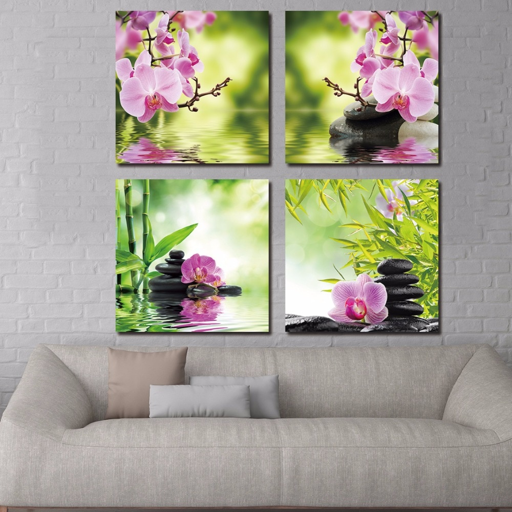 €3.64 46% De Réduction|Banmu Toile Peinture Décor Pour Salon Mur Papillon  Orchidée Fleur Et Zen Pierres Peinture Mur Art Bambou Photo avec Image Zen A Imprimer