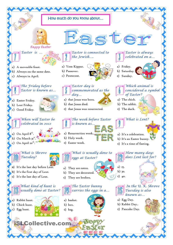 Easter-Quiz | Vocabulaire Anglais, Éducation, Quiz intérieur Quizz Pour Maternelle
