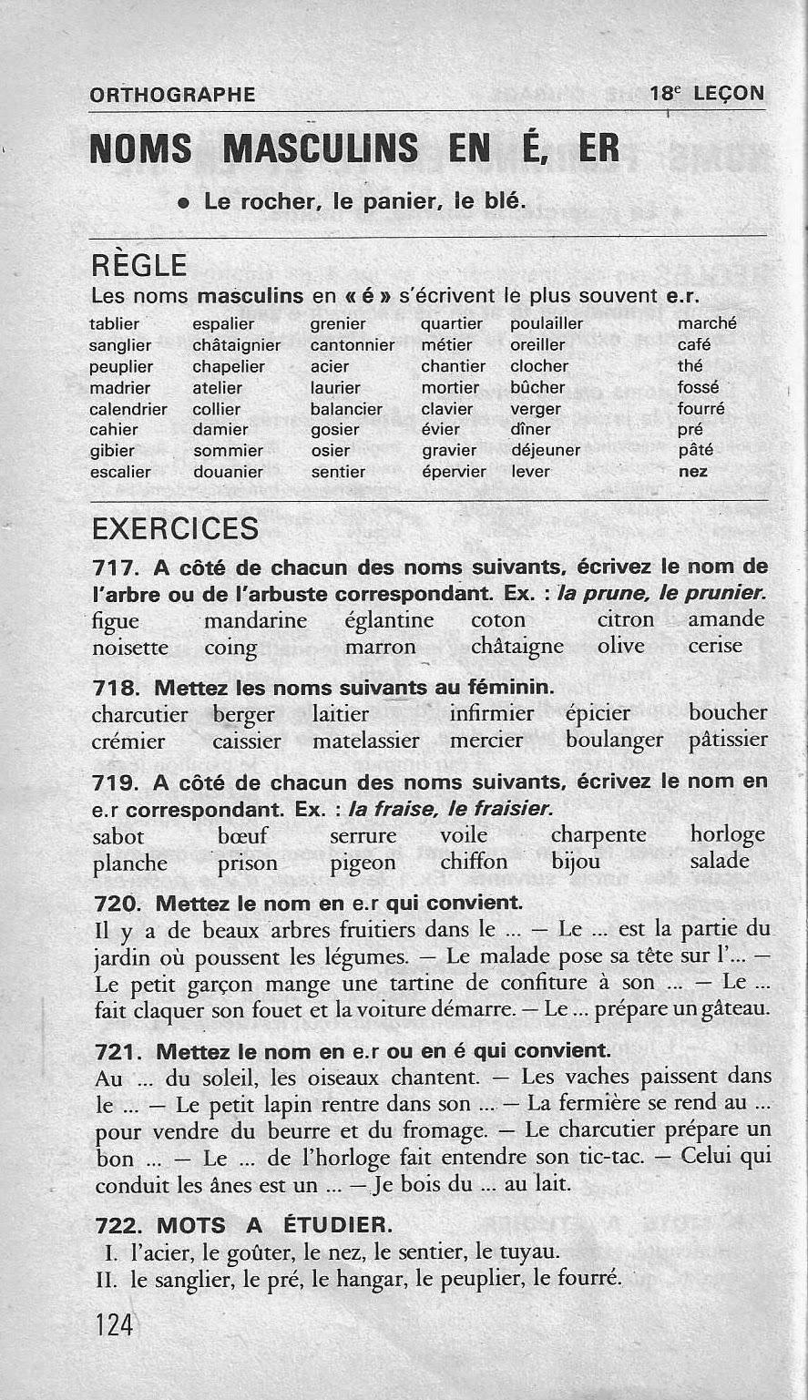 École : Références: 18 Noms Masculins En -É, -Er (Bled Ce2 avec Cours Ce2 A Imprimer
