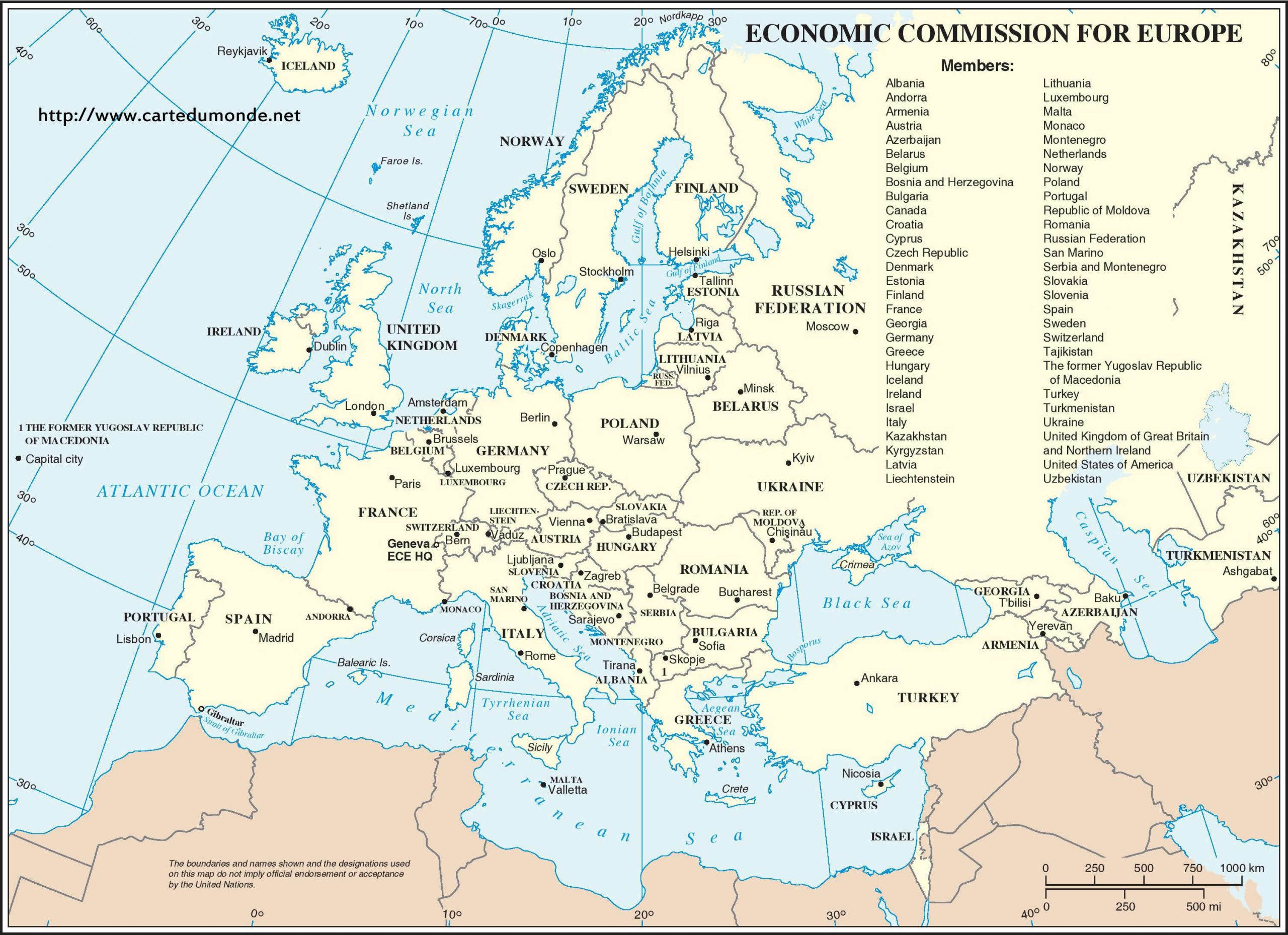 Economic Commission Of Europe, World Map pour Carte D Europe Avec Pays