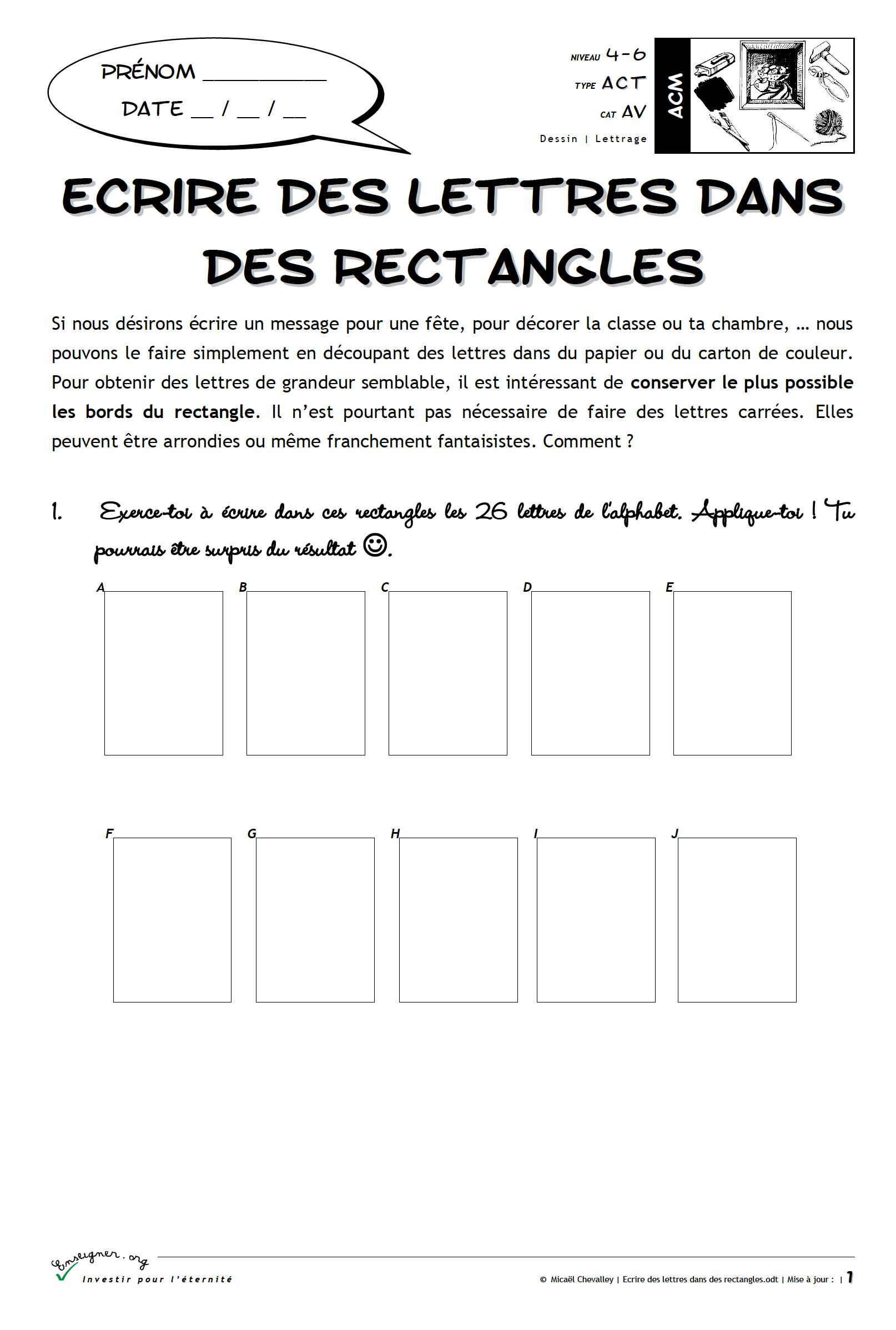 Ecrire Des Lettres Dans Des Rectangles | Bdrp intérieur Ecrire L Alphabet