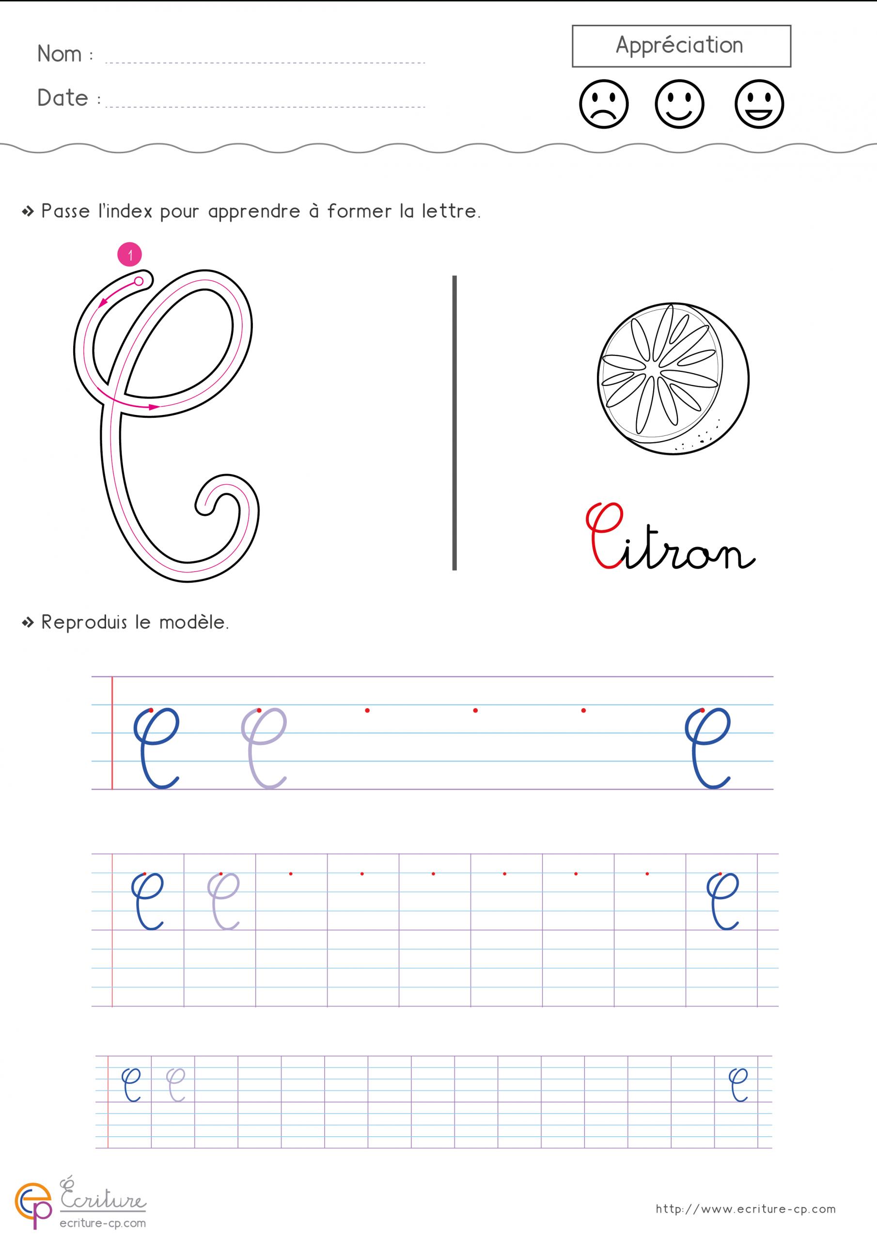 Écrire La Lettre C Minuscule Et Majuscule Cursive Cp Ce1 pour Apprendre À Écrire Les Lettres Maternelle