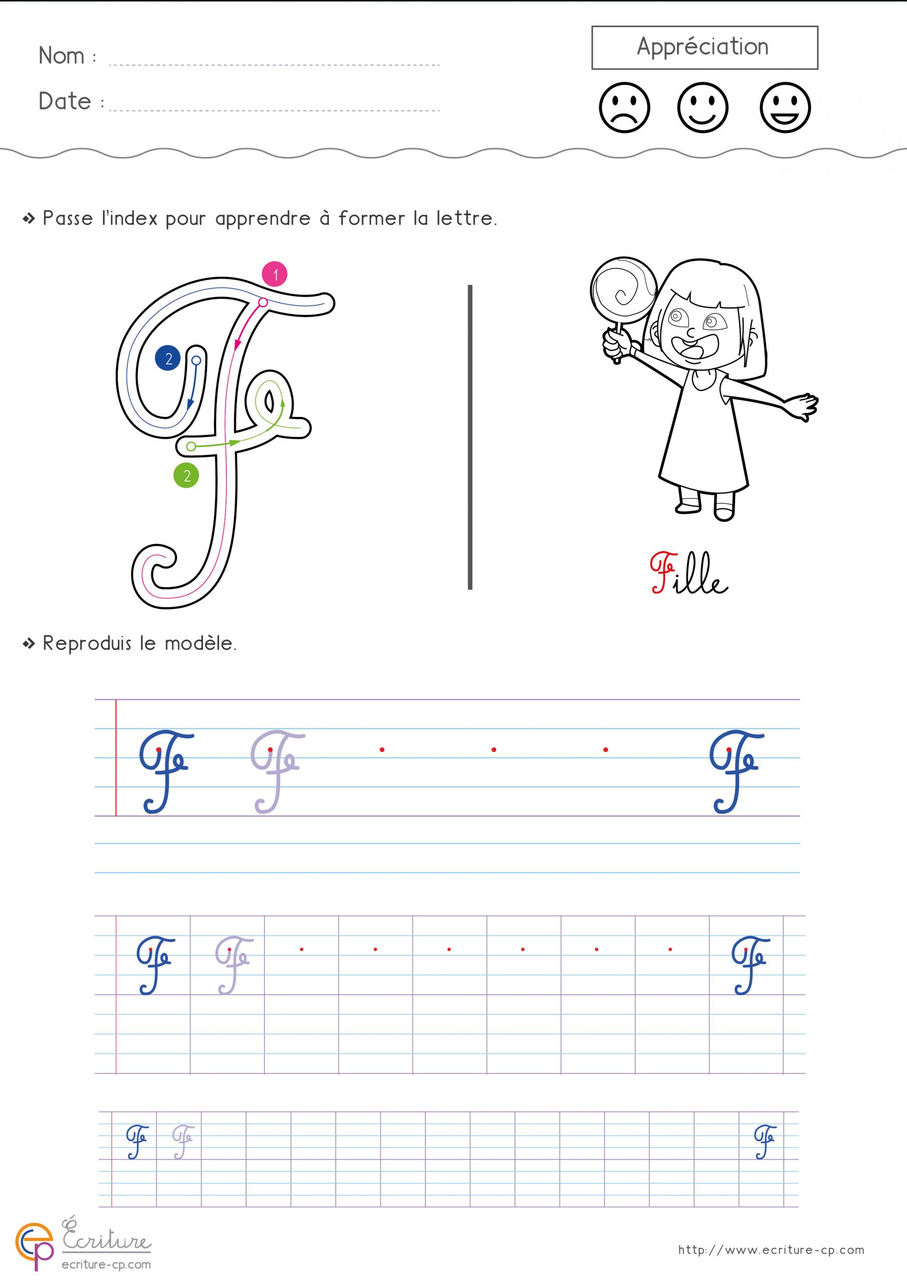 Écrire La Lettre F En Minuscule Et En Majuscule | Écriture encequiconcerne Apprendre A Ecrire Les Lettres