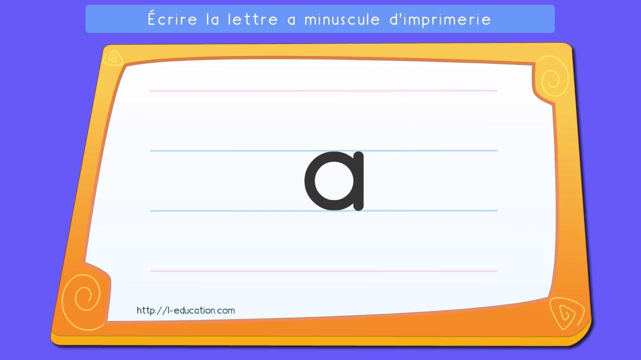 Écrire L'alphabet Script: Apprendre À Écrire La Lettre A Minuscule En Script pour Apprendre A Ecrire Les Lettres En Minuscule
