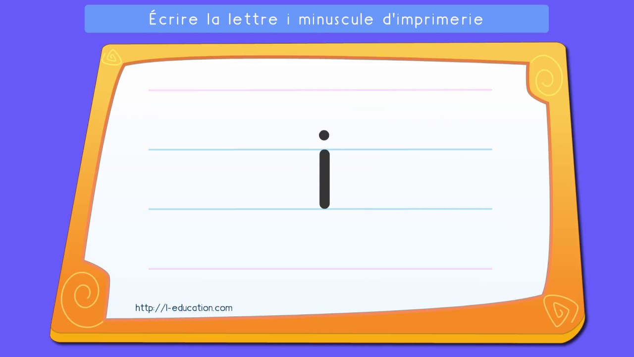 Écrire L'alphabet Script: Apprendre À Écrire La Lettre I Minuscule  D'imprimerie tout Apprendre À Écrire L Alphabet En Maternelle