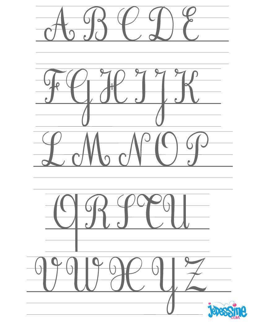 Ecrire Les Lettres Cursives En Majuscules | Majuscule tout Modele De Lettre Alphabet