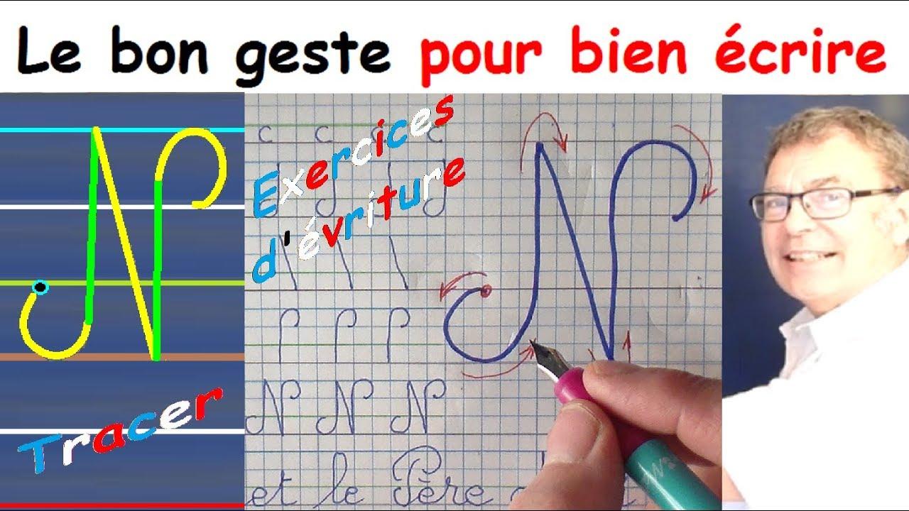 Ecriture Cursive Français Au Cp Ce1 Ce2 : La Lettre Majuscule N tout Cahier Majuscule