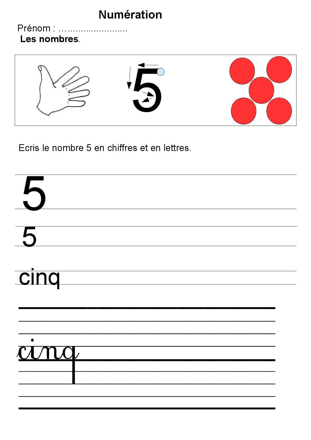 Écriture Des Nombres De 1 À 5 Maternelle,compter,dénombrer tout Apprendre À Écrire Les Chiffres En Maternelle