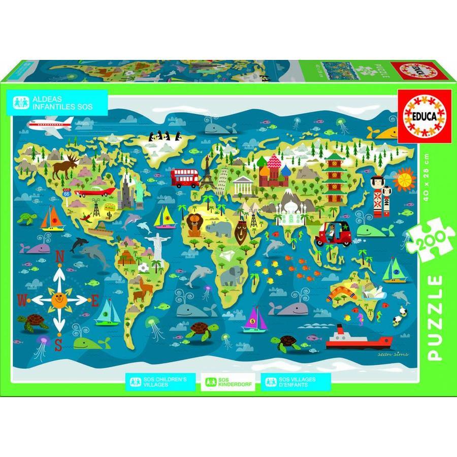 Educa Carte Du Monde - Puzzle De 200 Pièces destiné Carte Du Monde Enfant