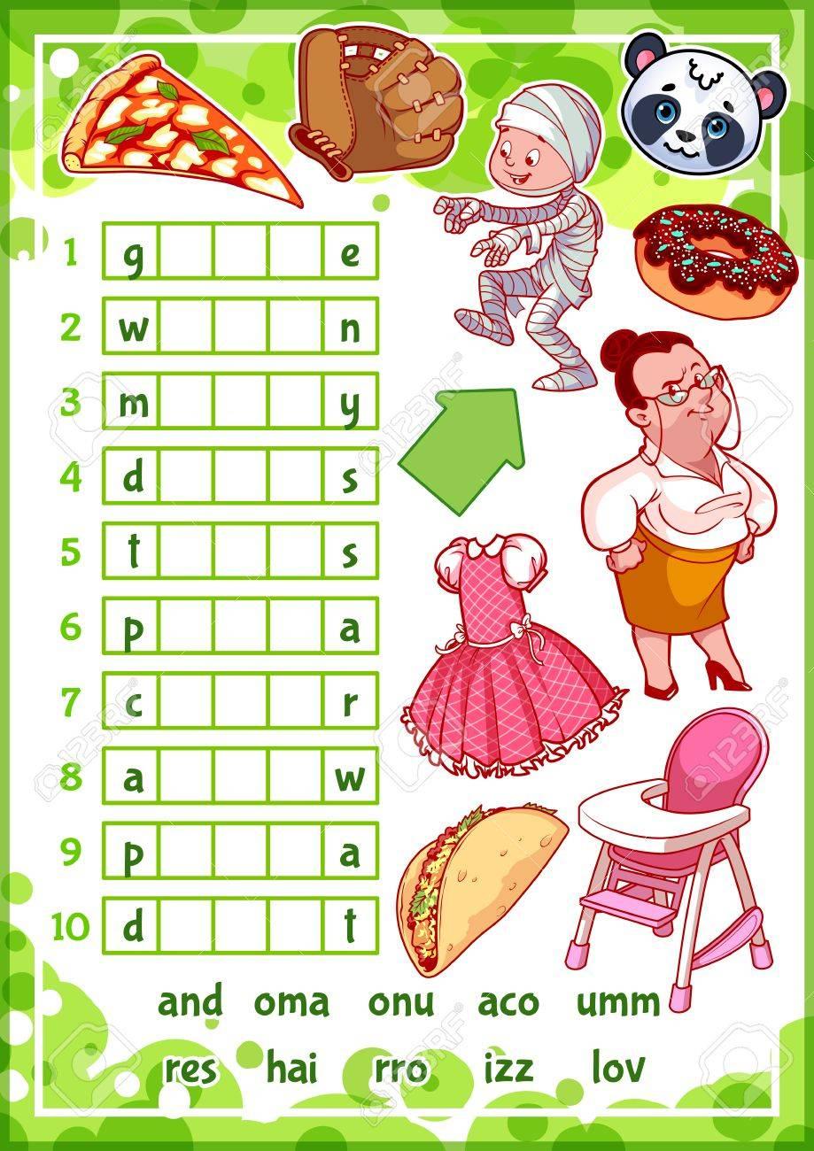 Education Jeu Rebus Pour Les Enfants D'âge Préscolaire. Trouver La Bonne  Partie Des Mots. Vecteur Cartoon Illustration. destiné Jeux Rebus