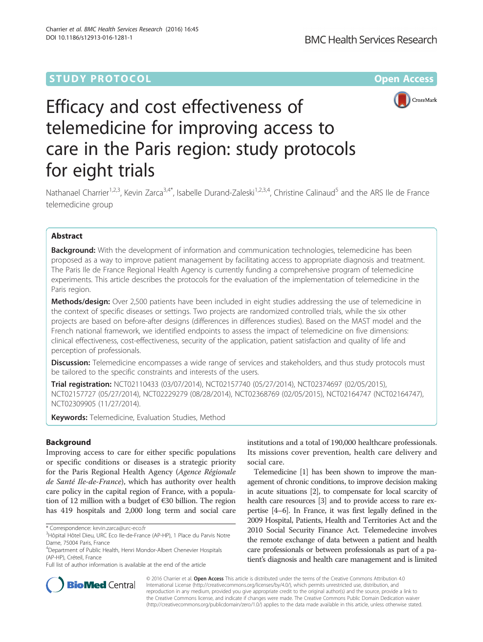Efficacy And Cost Effectiveness Of Telemedicine For à Liste Region De France