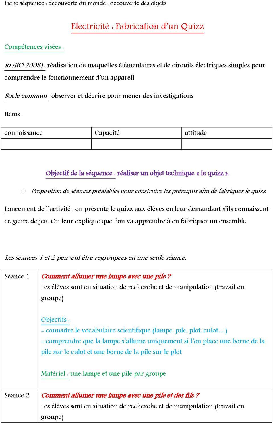 Electricité : Fabrication D Un Quizz - Pdf Free Download tout Quizz Pour Maternelle
