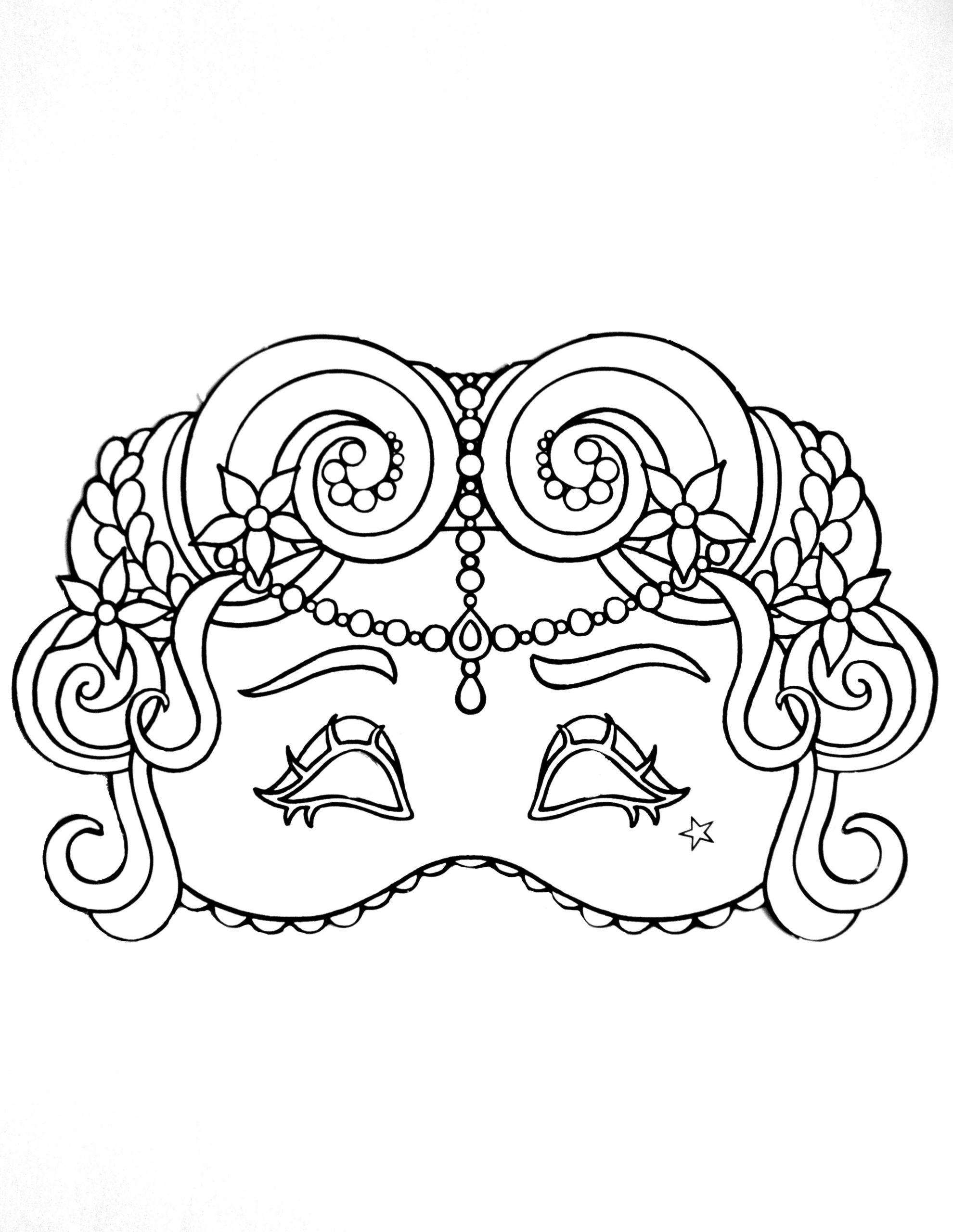 Elégant Masque De Carnaval - Coloriage De Masques encequiconcerne Masque Enfant A Colorier