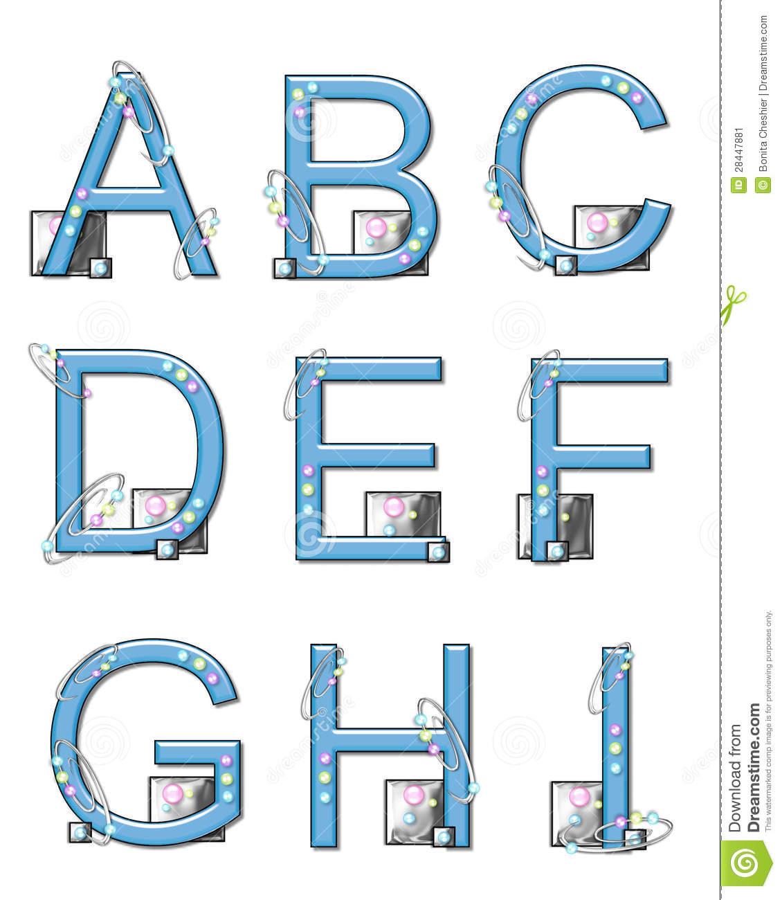 Éléments De Modèle D'alphabet A À I Illustration Stock destiné Modèle D Alphabet