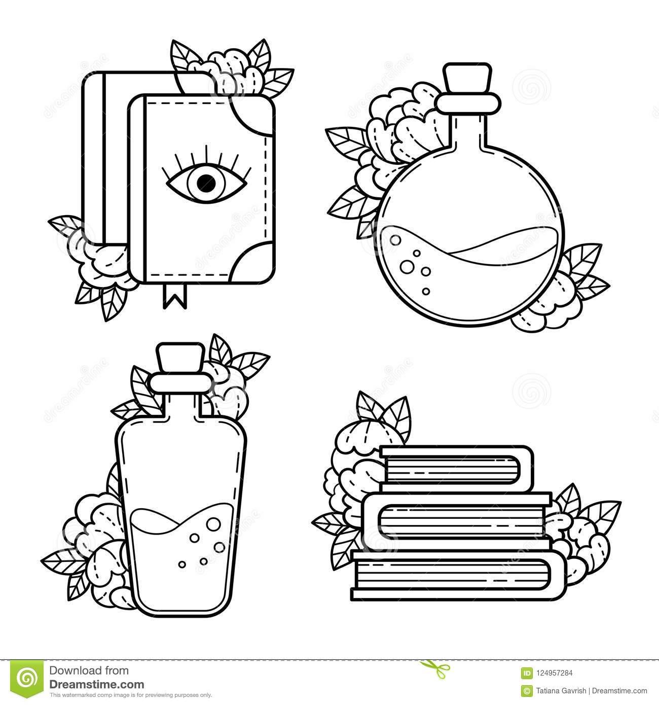 Éléments De Sorcellerie Dessin De Découpe Illustration De concernant Dessin À Découper