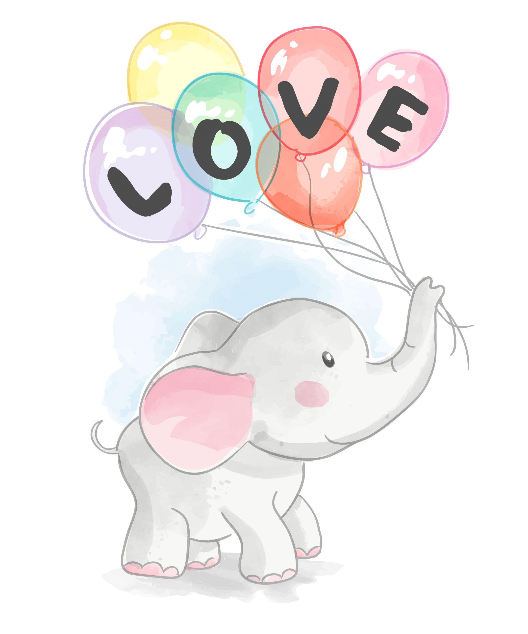 Éléphant De Dessin Animé Tenant Des Ballons D'amour encequiconcerne Minou Dessin