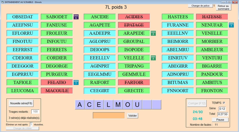 Elimots : Logiciel D'entraînement Au Vocabulaire Du Scrabble encequiconcerne Jeux Anagramme Gratuit A Telecharger