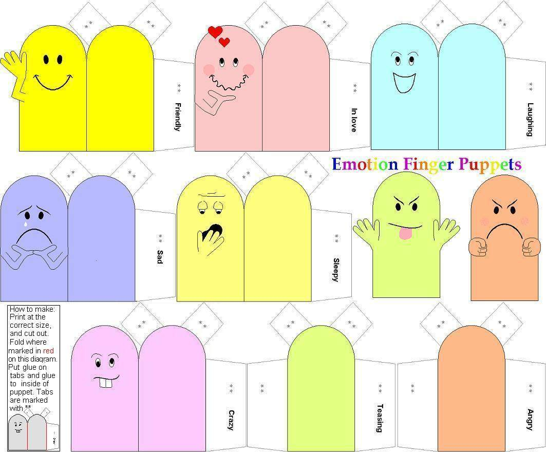 Emotion Finger Puppets | Paper Dolls And Other Paper Toys à Paper Toy A Imprimer