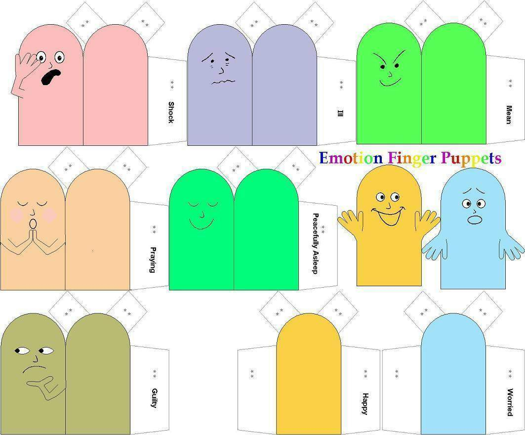 Emotion Finger Puppets | Paper Dolls And Other Paper Toys serapportantà Paper Toy A Imprimer