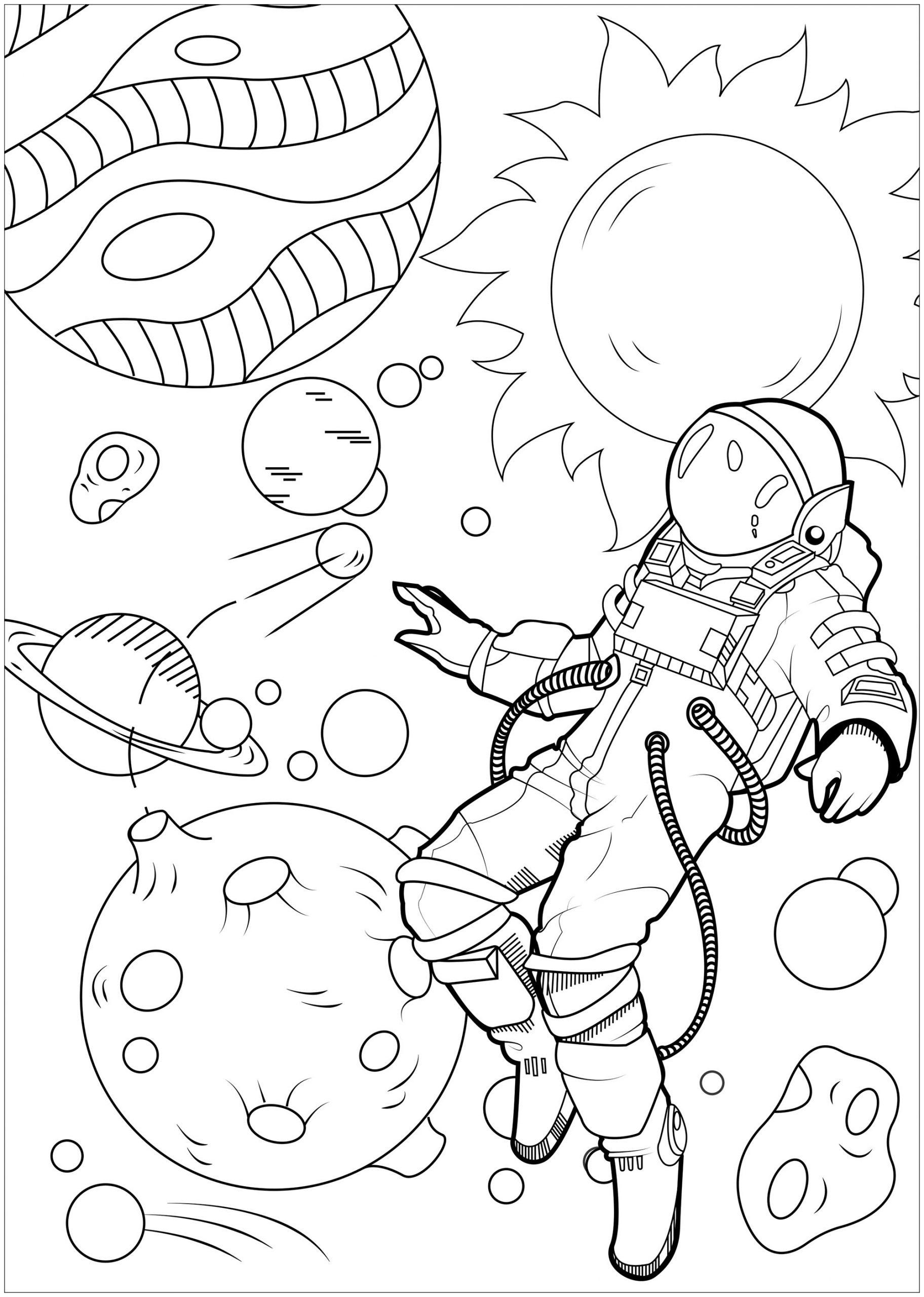 En Apesanteur - Inclassables - Coloriages Difficiles Pour pour Coloriage Astronaute