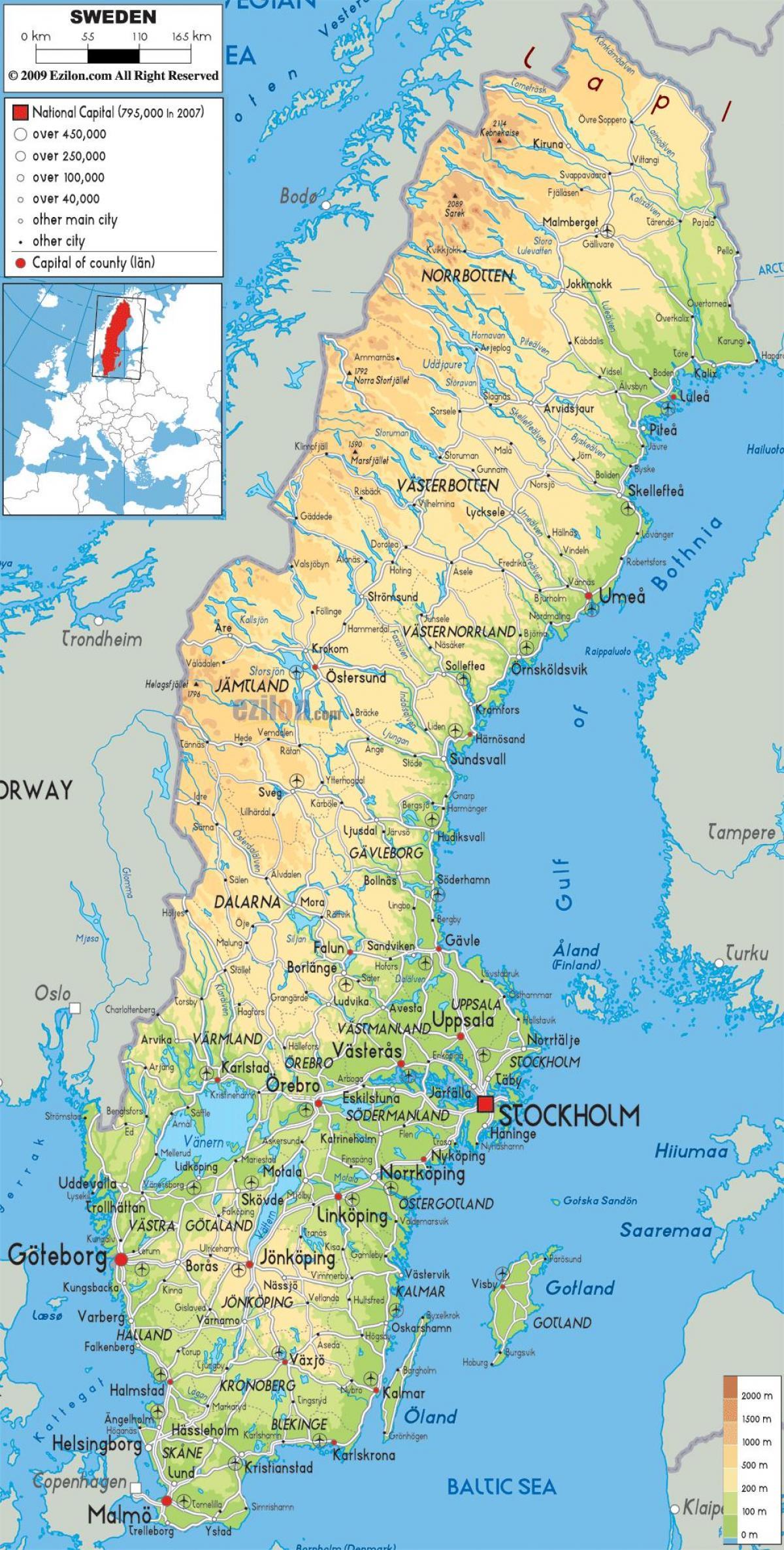 En Suède, Carte Géographique - Carte Géographique De La intérieur Carte Géographique De L Europe