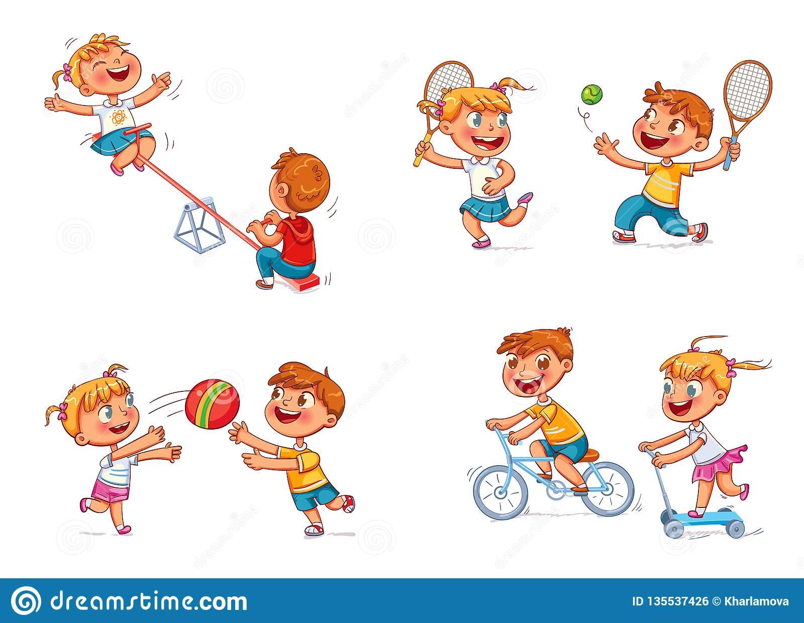 Enfants À La Cour De Jeu Personnage De Dessin Animé Drôle pour Jeux Enfant Dessin