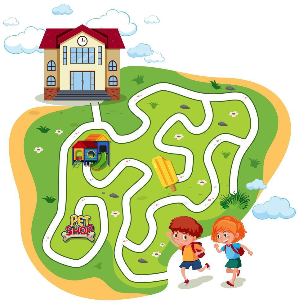 Enfants Allant Au Jeu De Labyrinthe Scolaire - Telecharger concernant Jeux De Labyrinthe Gratuit