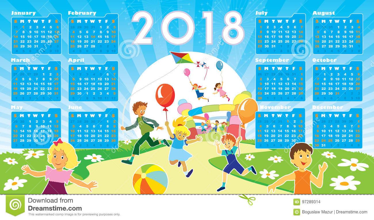 Enfants Avec Le Calendrier 2018 Illustration De Vecteur concernant Calendrier 2018 Enfant