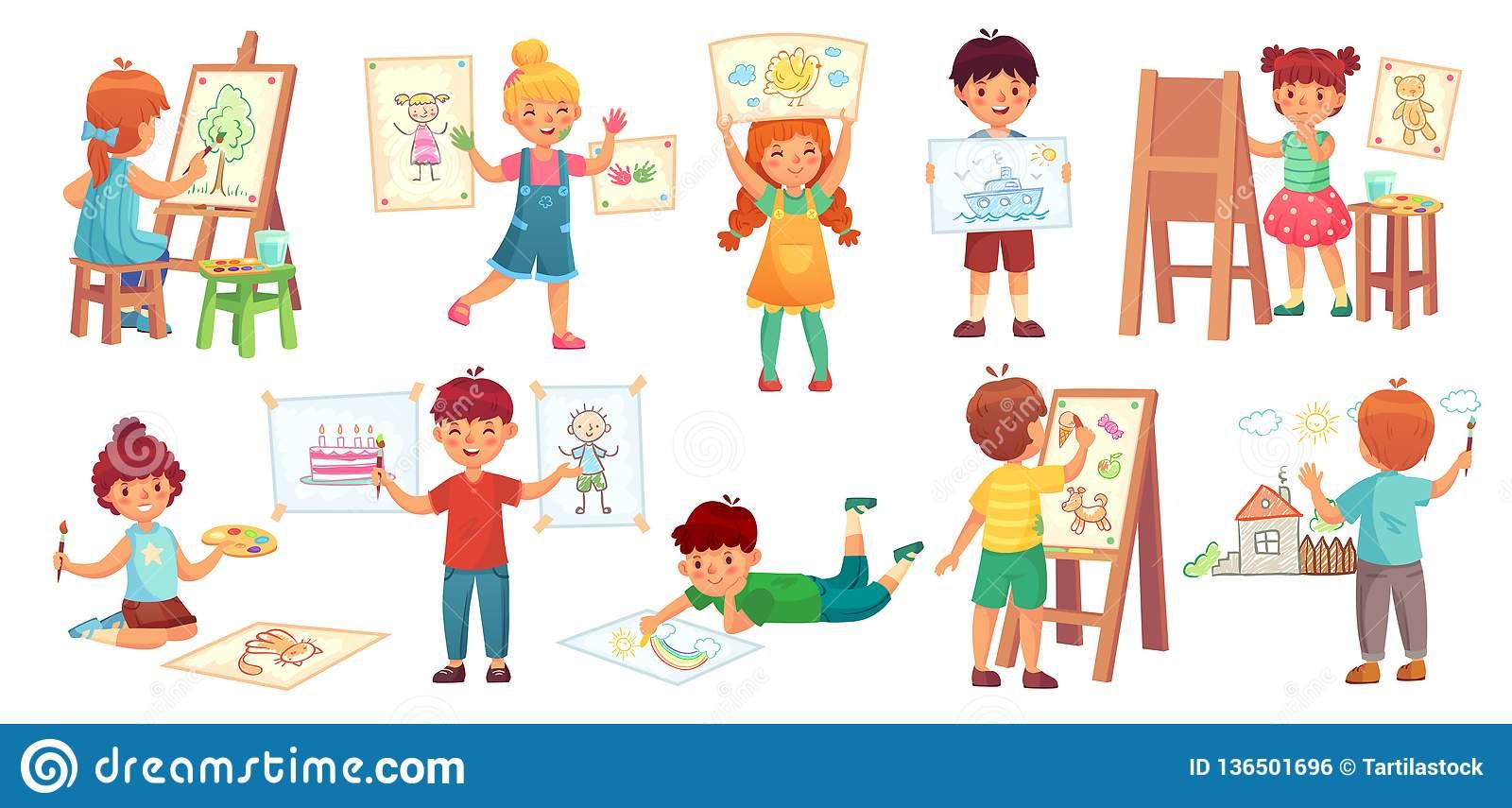 Enfants De Dessin Illustrateur D'enfant, Jeu De Dessin De à Jeux Enfant Dessin