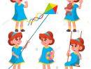 Enfants De Maternelle Fille Pose De Vecteur. Jeu De à Jeux Enfant Maternelle