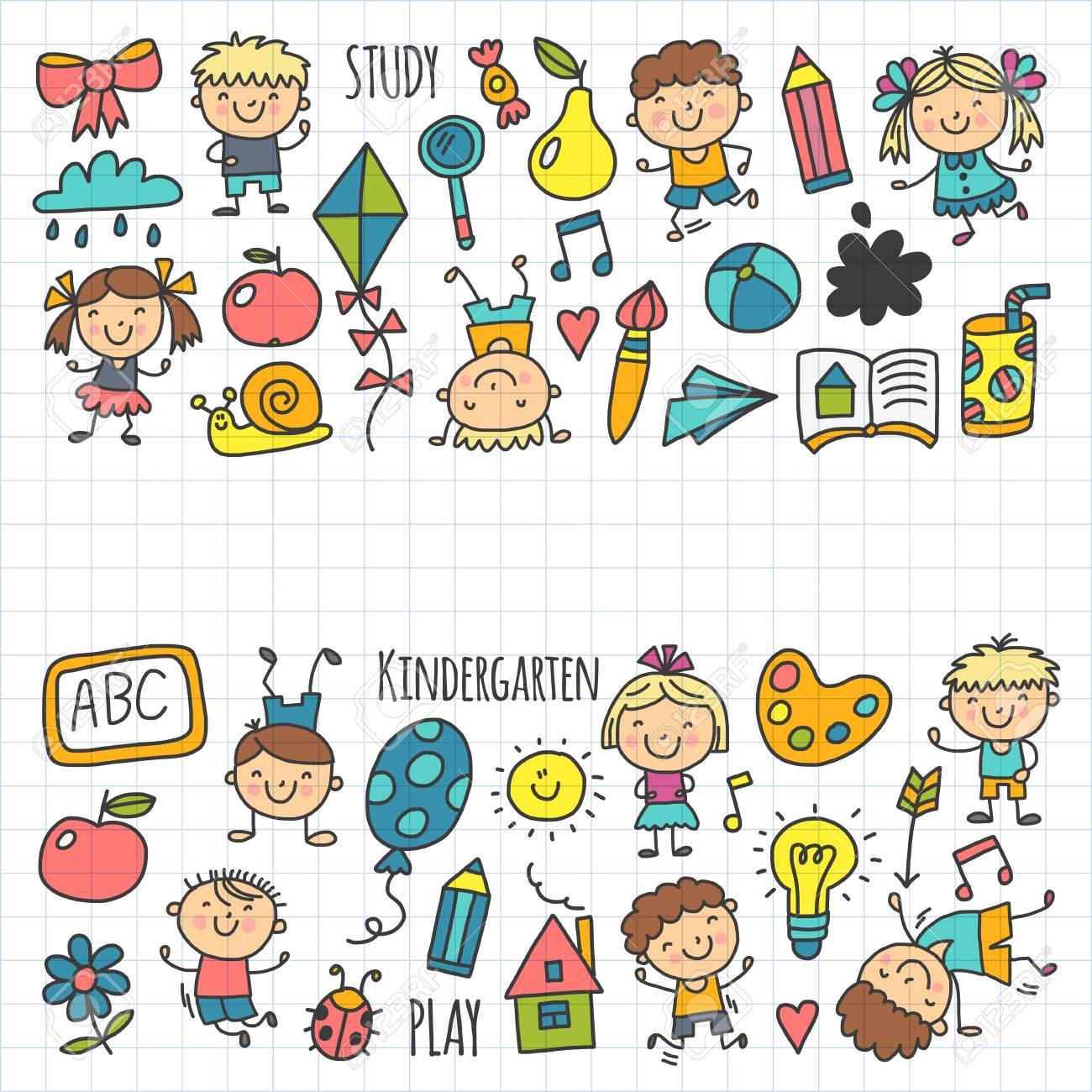 Enfants Dessin École Maternelle Enfants Heureux Jeu Illustration Pour  Enfants Enfants École Maternelle Icon avec Jeux Enfant Maternelle