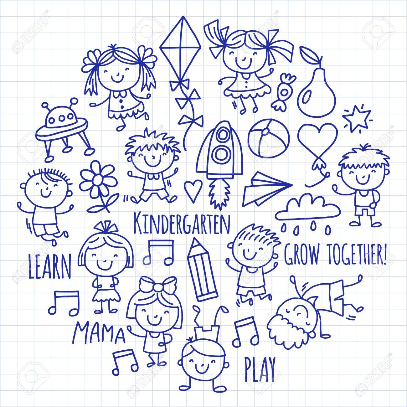 Enfants Dessin École Maternelle Enfants Heureux Jeu Illustration Pour  Enfants Enfants École Maternelle Icon pour Jeux Enfant Dessin