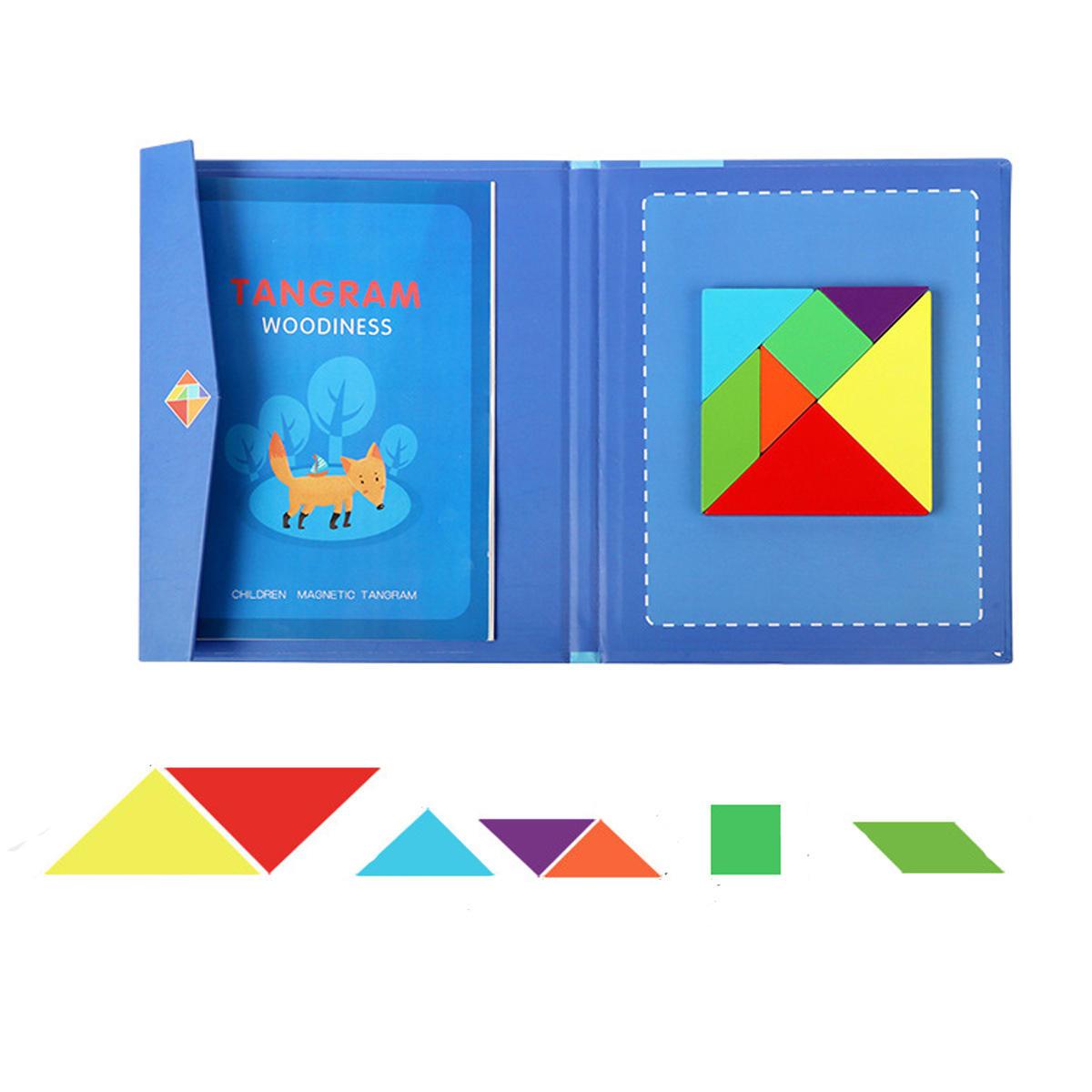 Enfants Enfant Magnétique Tangram Jigsaw Puzzle Jouet Forme Créative Diy En  Bois Puzzles Montessori dedans Tangram Enfant