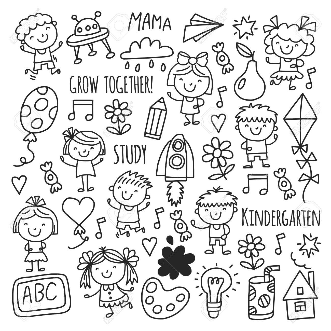 Enfants Enfants Dessin Des Enfants De L & # 39 ; École Maternelle Jeu  Heureux Pour Enfants Pépinière Maternelle concernant Jeux Enfant Maternelle